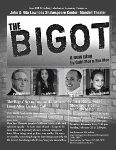 Off Broadway THE BIGOT Play-A Timely Comedy drama ...