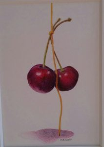 Cherries in Colored Pencil and Watercolor Pencils