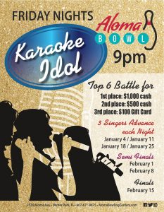 Aloma Bowl's Karaoke Idol Qualifying Round January 11