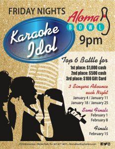 Aloma Bowl's Karaoke Idol Qualifying Round Janua...
