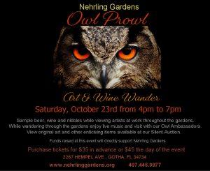 Nehrling Gardens Owl Prowl Art & Wine Wander